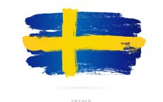 Flag of Sweden. Vector illustration on white background. Beautiful brush strokes. Abstract concept. Elements for design.