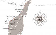 Hurtigruten Routenkarte_Bergen-Kirkenes-Trondheim_inkl._Linienfluege