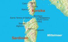 Karte Sardinien Korsika