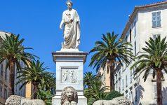 France, Corsica, Ajaccio, the Napoleon Bonaparte's statue in Mareshal Foch square