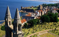 A VIEW OVER THE TOWN OF ST. ANDREWS, LOOKING NORTH FROM ST. RULES TOWER WITH THE REMAINS OF THE CATHEDRAL IN THE FOREGROUND, FIFE. PIC:PAUL TOMKINS/VisitScotland/SCOTTISH VIEWPOINT Tel: +44 (0) 131 622 7174   Fax: +44 (0) 131 622 7175 E-Mail : info@scottishviewpoint.com This photograph can not be used without prior permission from Scottish Viewpoint.
