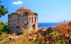 Ruins in medieval hideout Kastro in Skiathos, Greece
