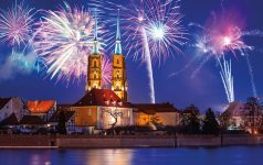 New Years firework display in Wroclaw, Poland