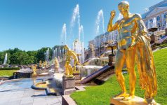 ST PETERSBURG, RUSSIA - JUNE 15, 2014: Peterhof Palace (Petrodvorets)  with Grand Cascade. The Peterhof Palace included in the UNESCO's World Heritage List.