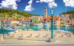 Pucisca island Brac Croatia. / View at small mediterranean place