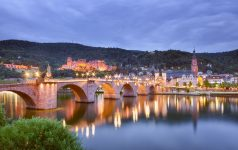 Germany, baden-württemberg, Heidelberg - View with Heidelberg Castle, old town city center and Old Bridge