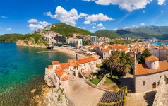 Panorama of Old town in Budva in a beautiful summer day, Montenegro
