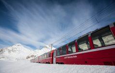 Rhaetische Bahn/RhB - Bernina Express - Der Bernina Express auf dem Berninapass. Eine Fahrt von den Gletschern zu den Palmen.  Rhaetian Railway/RhB - Bernina Express - The Bernina Express on the Bernina Pass.  Ferrovia retica/FR - Bernina Express - Il Bernina Express sul passo del Bernina. Un viaggio dai ghiacciai alle palme.  Copyright by Rhaetische Bahn By-line: swiss-image.ch/Andrea Badrutt